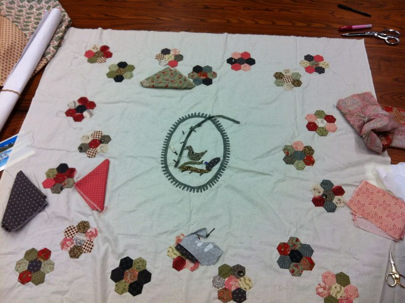 Sue's progress on her mystery quilt - Waddington Charm